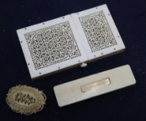 A Regency yellow metal mounted ivory toothpick case, a pierced card case, length 10.5cm and brooch
