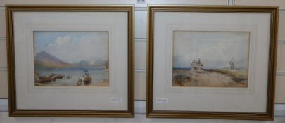 Marjorie May Bacon after Cotman, pair of watercolours, Coastal windmill and Lake scene, 18 x 24cm