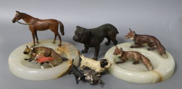 A collection of cold painted bronzes including two ashtrays