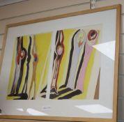 Barbara Tribe RWA (1913-2000), two watercolours, 'Sonamubulists', label verso, each 37 x 27cm
