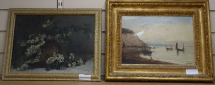 H Church, oil on canvas, Coastal landscape with fishing boats, signed, 22 x 32cm (a.f.) and a