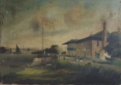 19th century English School, Naive oil on canvas, 'Red House', 46 x 61cm, unframed