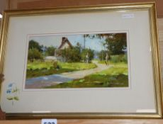 John Haskins (1938-), oil on board, Lane to Tempsford Mill, signed, 18 x 34cm