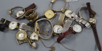 A group of assorted minor wrist watches.