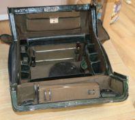 A green leather Gladstone bag, width 42cm