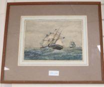 19th century English School, watercolour, Shipping at sea, 23 x 30cm