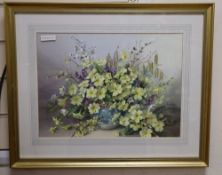Jack Carter, watercolour, Still life of spring flowers in a vase, signed and dated 1982, 28 x 39cm