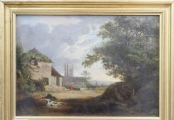 19th century English School, oil on panel, Landscape with house and church, 21.5 x 30.5cm
