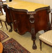 A George III style serpentine mahogany commode with faux marble top, W.145cm, D.59cm, H.