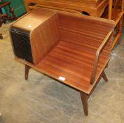 Chippy Heath furniture, a teak tambour telephone table, circa 1970, W.81cm, D.42cm, H.69cm