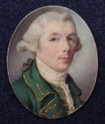 A George III oval portrait miniature of a gentleman