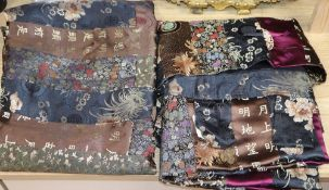 A pair of Oriental silk patchwork brocade wall hangings