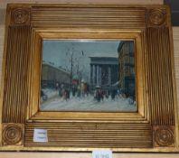 French School, oil on panel, Paris in the snow, 19 x 24cm