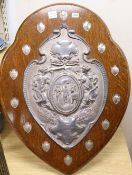 A 1972 Hove Hospital Challenge Football shield, plaque reads 'Presented by Bernhad Barone Esq,