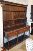 An 18th century oak pot board dresser, W.172cm, D.44cm, H.197cmCONDITION: Overall in good original
