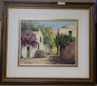 Guido Odierna (1913-1991), oil on board, Street scene, signed, 23 x 30cm