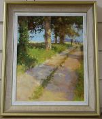 John Haskins (1938-), oil on board, Sportsman on a country lane, signed, 29 x 22cm
