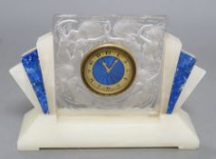 A Lalique Art Deco onyx and frosted glass mantel timepiece, with enamelled dial, height