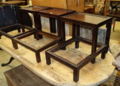 Three Chinese style rectangular hardwood occasional tables, W.43cm, D.30cm, H.40cm with three
