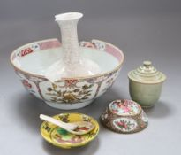 A Chinese punch bowl (a.f.) and four other items