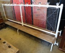 A vintage school cloakroom two sided bench, W.300cm, D.60cm, H.132cm