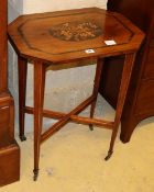 An Edwardian Irish marquetry inlaid yew wood occasional table, W.55cm