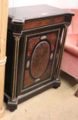 A Victorian ebonised boulle and ormolu mounted pier cabinet, W.96cm, D.49cm H.115cm,