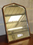 An early 20th century simulated walnut dressing table mirror, W.38cm