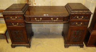 A late Victorian mahogany twin pedestal sideboard, W.187cm