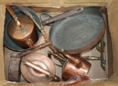 A collection of Victorian copper and brass items, including a large copper saucepan