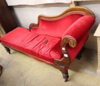 An early Victorian rosewood framed chaise longue, W.181cm