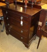 A 1920's mahogany chest of drawers, W.91cm, D.45cm, H.100cmCONDITION: Top and sides scratched and