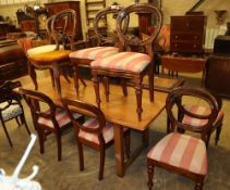 A set of four Victorian mahogany balloon back dining chairs, four similar chairs and two salon