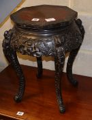 A Chinese ebonised hardwood octagonal jardiniere stand, W.35cm, H.46cm