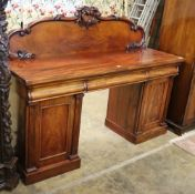 An early Victorian mahogany pedestal sideboard, W.183cm