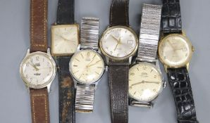 Six assorted gentleman's wrist watches including Timex, Astral, Silver and Rotary.