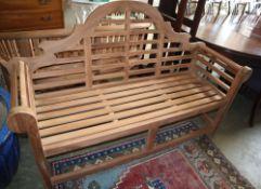 A teak Lutyens style garden bench, W.166cm, D.50cm, H.107cm