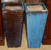 Two blue glazed tall garden planters, W.27cm, H.59cm