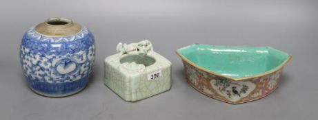 A Chinese blue and white jar, a crackleglazed 'dragon' brush washer and an enamelled dish