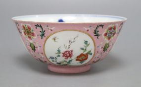 A Chinese pink ground medallion bowl, Qianlong mark but later, diameter 15cmCONDITION: In our
