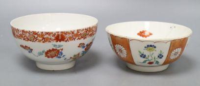 A Japanese Kakiemon bowl and a Worcester Kakiemon-style bowl, tallest 8cm