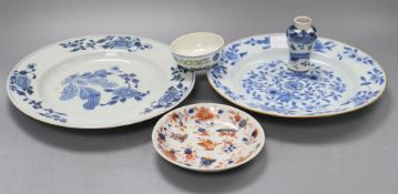 Two Chinese blue and white export plates, a blue and white miniature vase, a dish and bowl