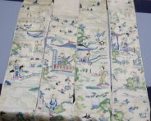 Two 19th century cream silk Chinese sleeve bands, embroidered in polychrome silk with motifs of