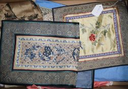 A group of Chinese embroidered silk panels