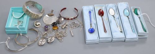 Egon Lauridsen, Denmark, a set of five silver-gilt and enamel coffee spoons and a collection of