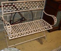 A painted metal garden bench, W.112cm, D.44cm, H.97cm