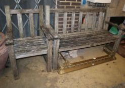 A weathered teak garden bench and matching chair, bench W.150cm, D.52cm, H.98cm