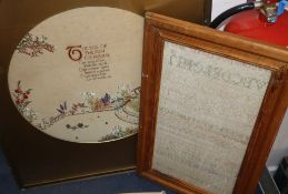 A cross stitch sampler, 44 x 24cm and various embroidered pictures
