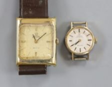 Two lady's steel and gold plated Omega De Ville automatic wrist watches.