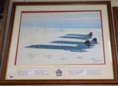 Concorde interest: A 20th Anniversary Adrian Meredith photograph signed by five captains
